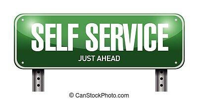 self service road sign illustration