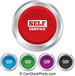 Self service sign icon. Maintenance button.