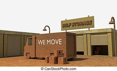 self storage units isolated on white background