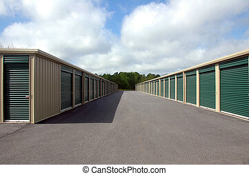 self storage warehouse units photographed in rural Georgia.