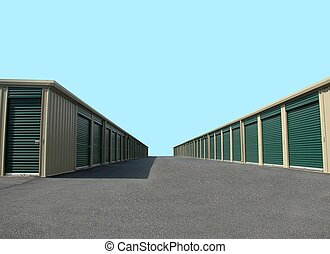 self storage warehouse units photographed in rural Georgia.
