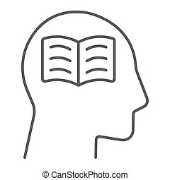 Self study thin line icon, e learning and education, person with book sign vector graphics, a linear pattern on a white background, eps 10.
