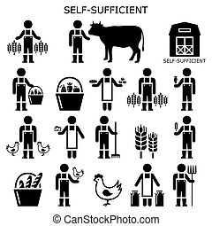 Self-sufficient farmer icons set, self sufficiency ...