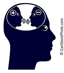 The internal chatter in the brain with negative and positive thoughts
