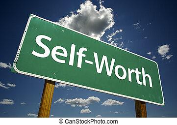 self-worth, vägmärke