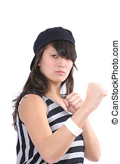 Selfdefense - Asian woman in a defensive stance