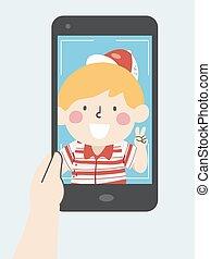 selfie, αγόρι , παιδί , εικόνα , τηλέφωνο