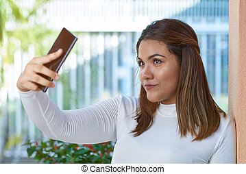 selfie, γυναίκα , παίρνω , νέος