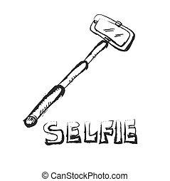 selfie, スティック, いたずら書き, ベクトル, アイコン