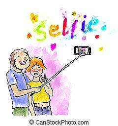 selfie, デジタル, 水彩画