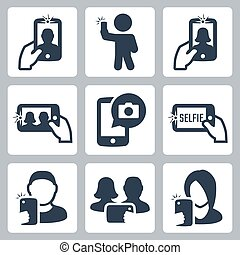 selfie, ベクトル, セット, 関係した, アイコン