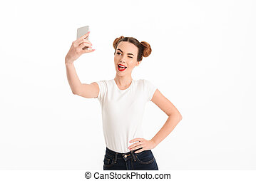 selfie, 偶然, かなり, 肖像画, 女の子, 取得