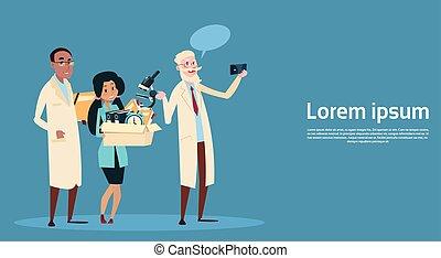 selfie, 医者, 写真, 医学, 携帯電話, チーム, 薬, 病院, 取得, 痛みなさい, 心配