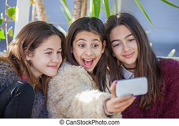 selfie, 女の子, 写真, グループ, 取得