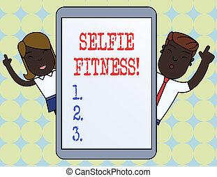 selfie, 本身, 商业, 照片, 测验, 内部, 或者, 注意到, gym., fitness., 图画,...