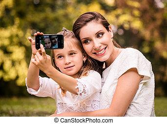selfie, 母, 子供