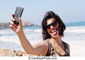 selfie, 肖像画, の, 美しい, 35, 古い年, 女
