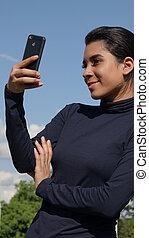 selfie, adolescent, femme