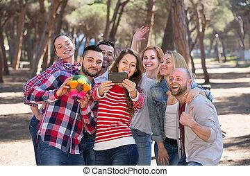 selfie, adultes, dehors