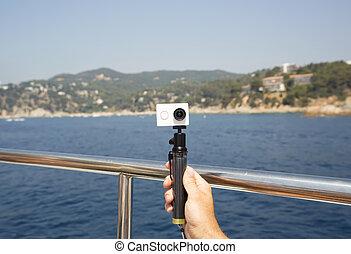 selfie, appareil photo, monopod