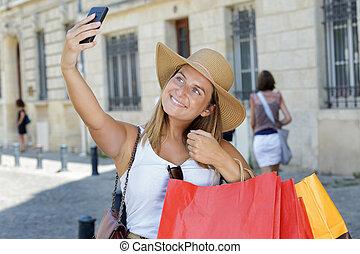 selfie, après, achats, femmes