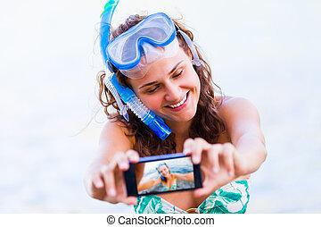 selfie, avant, natation