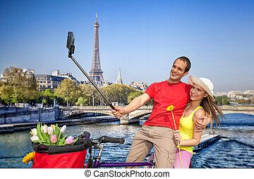 selfie, boeiend, eiffel, parijs, frankrijk, toren, paar
