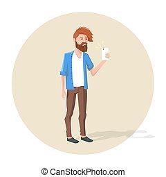 selfie, caractère, illustration, vecteur, hipster, confection