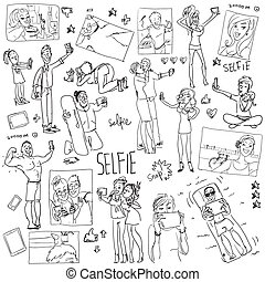 selfie., cartone animato, persone, doodles, presa