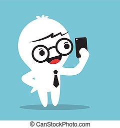 Selfie - Cartoon Businessman holding smartphone and selfie