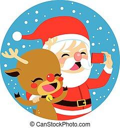 selfie, claus, santa