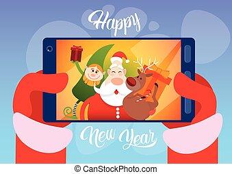 selfie, claus, saudação, foto, rena, santa, ano, novo, elfs,...