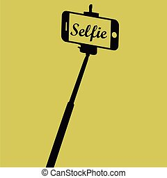 Selfie - Colored background with text and a smartphone....