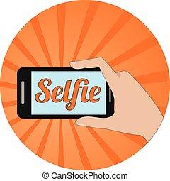 Selfie concept. Flat design.
