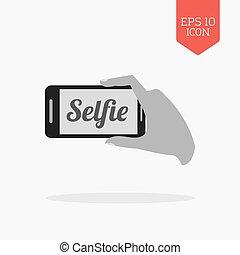 selfie, concept, icon., plat, conception, gris, couleur, symbole., moderne, ui, navigation web, signe.
