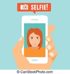 selfie, concept, vecteur
