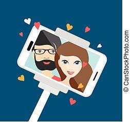 selfie, confection, dessin animé, amour, photo., couple, illustration.
