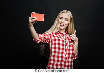 selfie, contre, noir, vif, fond, prendre, adolescent