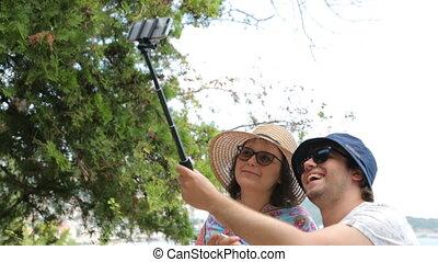 selfie, crosse, touristes