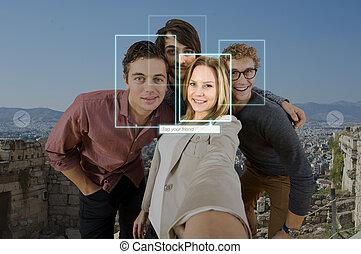 selfie, deler, mærker