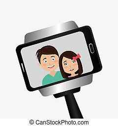 Selfie design, vector illustration. - Selfie design over...