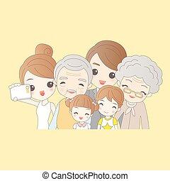 selfie, dessin animé, famille, heureux
