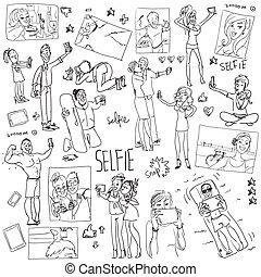 selfie., dessin animé, gens, doodles, prendre