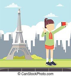 selfie eiffel tower
