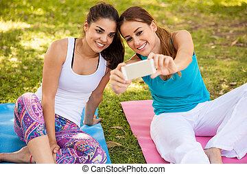 selfie, em, nosso, classe ioga