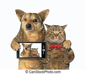 selfie, fait, chien, chat