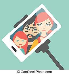 selfie, famille, photo.