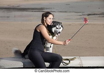 selfie, femme, chien