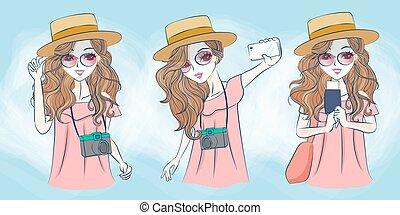 selfie, femme, dessin animé