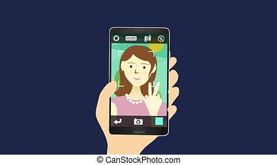 selfie, femme, prendre, images